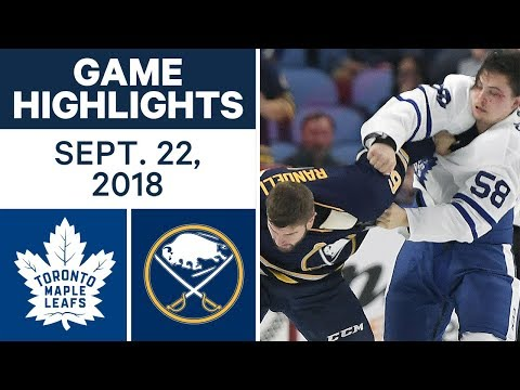 NHL Pre-season Highlights | Sabres vs. Maple Leafs - Sept. 22, 2018