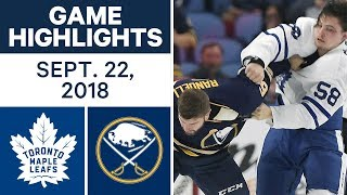 NHL Pre-season Highlights | Sabres vs. Maple Leafs - Sept. 22, 2018