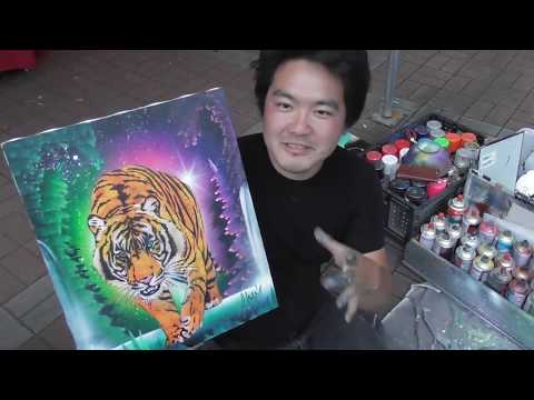 Yellow tiger spray art paint by  eden