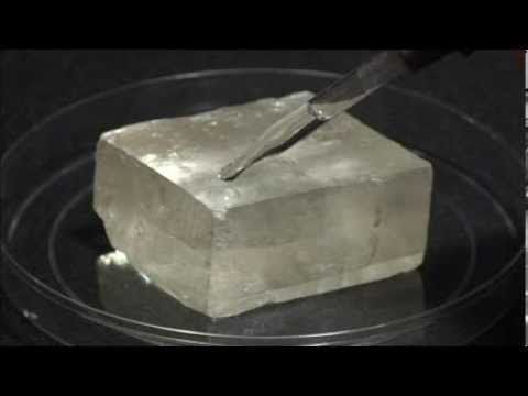Acid test on calcite using HCl.