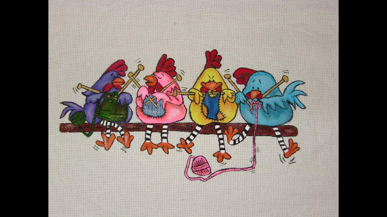 Diy tutorial de pintura en tela gallinitas tejiendo 1 de - Pintura en tela motivos navidenos ...
