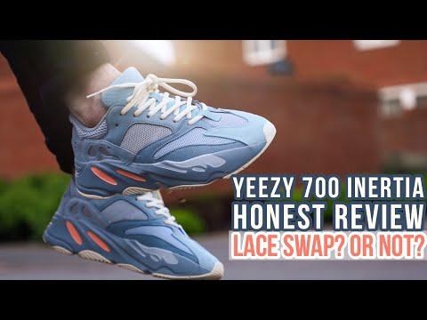 YEEZY 700 INERTIA HONEST REVIEW + ON FEET | Slickies Lace swap