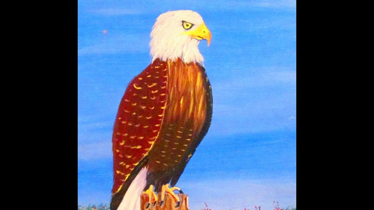 How to paint an easy bald eagle with acrylic paint for beginners