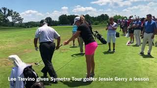 Golf legend Lee Trevino gives Symetra Tour golfer Jessie Gerry an impromptu lesson @AmFamChamp