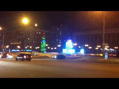 Lights on the Christmas tree, decoration, Novosibirsk Russia 2017. Free stock footage