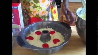 Cream Cheese Pound Cake With Strawberry Swirls
