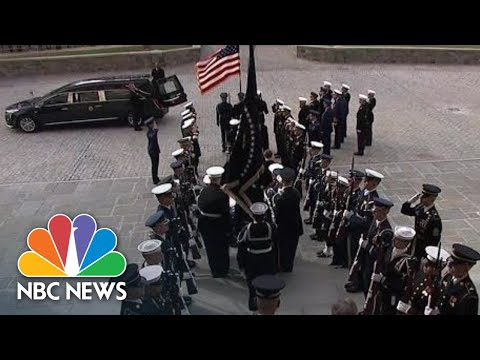 Casket Of Former President George H.W. Bush Departs National Cathedral | NBC News