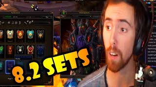 Asmongold Looks At The New 8.2 Armor Sets & Weapons In Game
