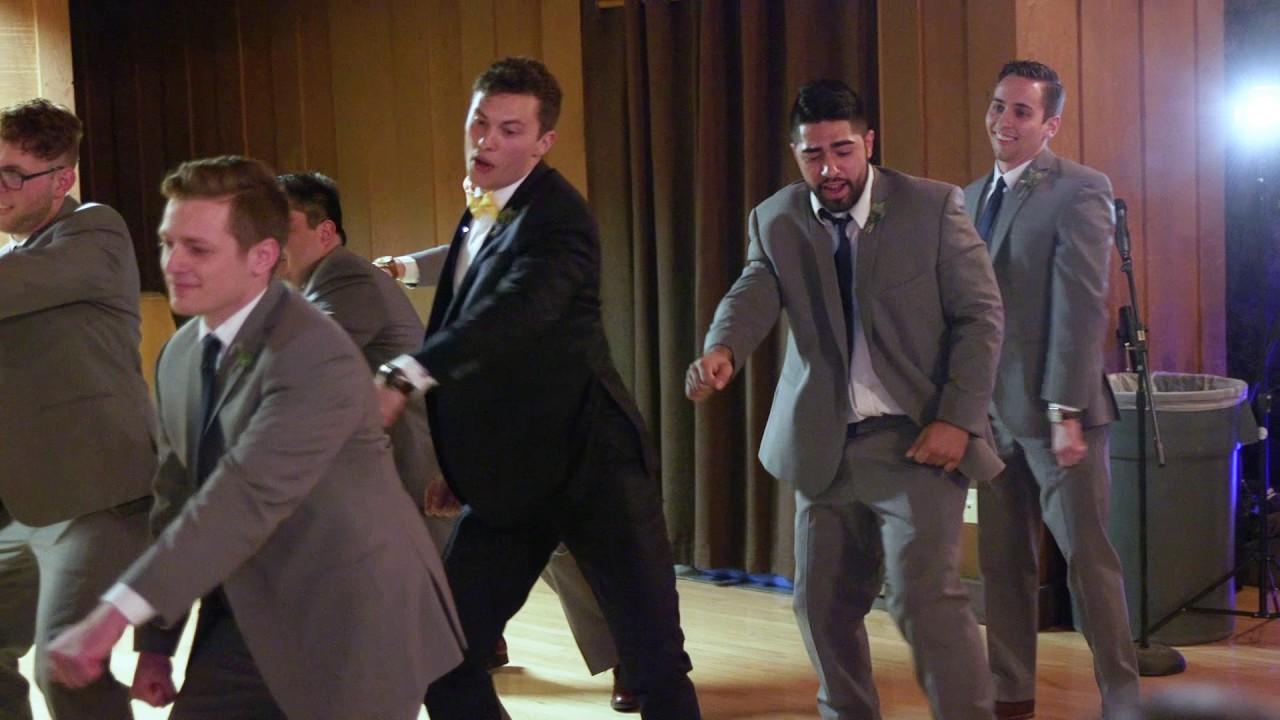 hilarious surprise groomsmen dance at wedding reception
