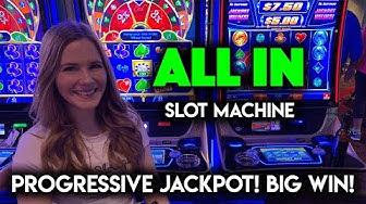 ALL IN! Slot Machine Progressive Jackpot! BIG WIN!