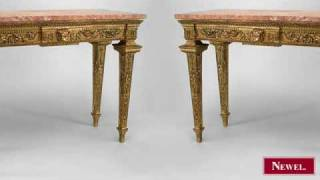 Antique Pair Of Italian Neoclassic Style Gilt Console Tables