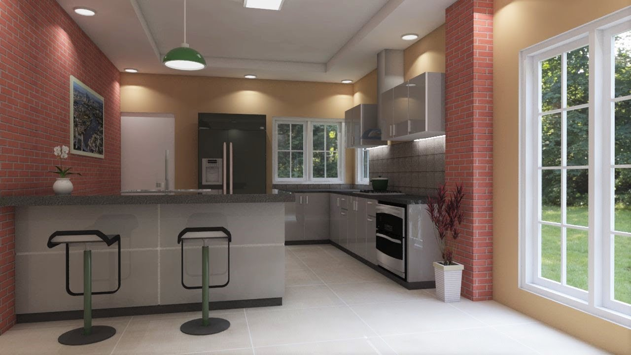 Sketchup Interior Design Make A Kitchen And Render Vray Youtube