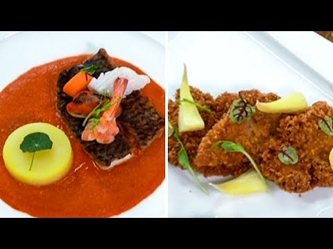 Spicy Seafood Caldereta w/ Herbed Potato; Crispy Cajun Chicken w/ Sweet & Spicy Pineapple Sauce