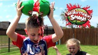 Kids Play Watermelon Smash Challenge!!! Brother Vs Sister Edition!