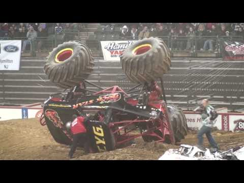 Rock Star Monster Truck freestyle and rollover crash