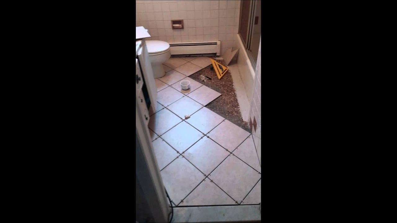 Tile floor over existing floor - YouTube