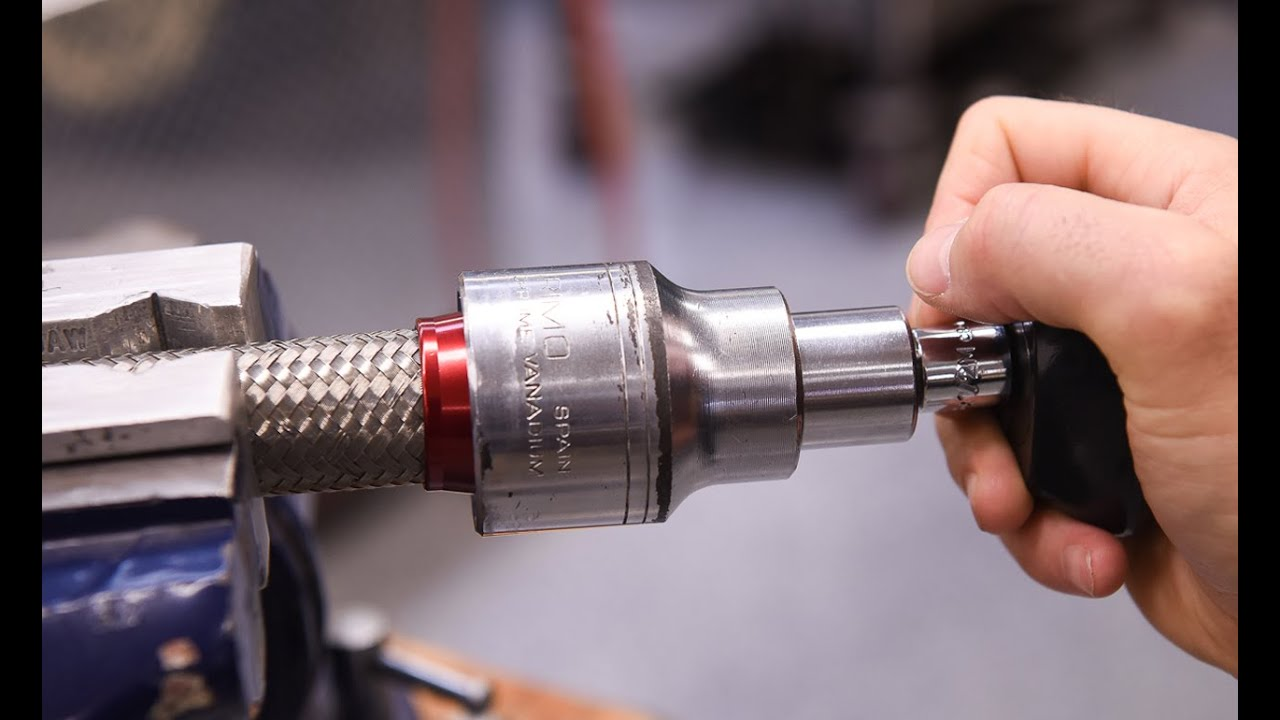 Tip for installing braided stainless steel hose to the