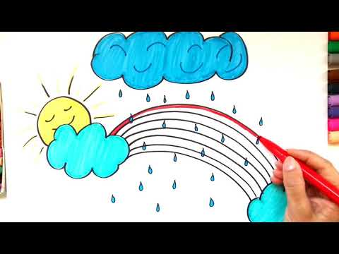 Drawing & Coloring RAINBOW, SUN, CLOUDS AND RAIN - LEARN COLORS - Video & Nursery Rhymes