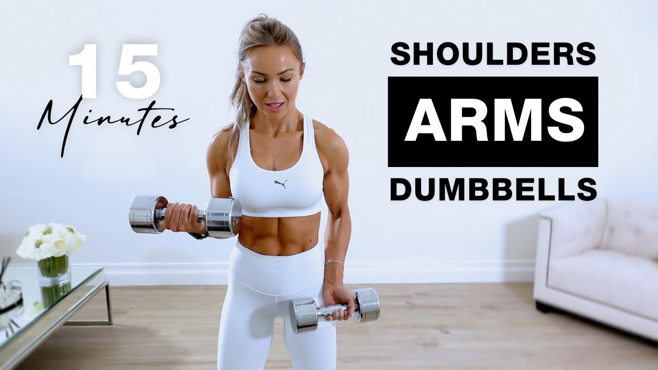 15 Min ARMS AND SHOULDERS Workout with DUMBBELLS