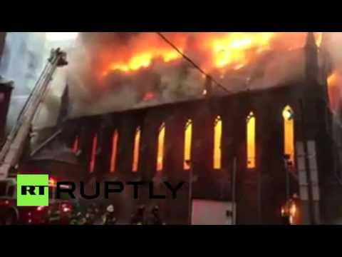 Huge blaze devastates Serbian Orthodox Church in Manhattan