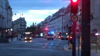 Voitures et fourgons de Police Paris en urgence ( emergency police car (Paris) responding