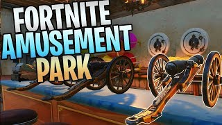 New FORTNITE Ghost Town Amusement Park (Rollercoasters, Human Cannonball, Mini Cannons)