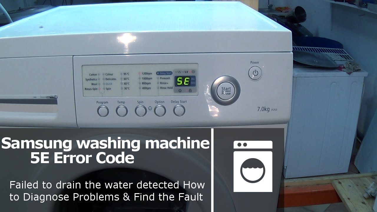 samsung washing machine 5e or 2e error code pump fault not emptying rh youtube com