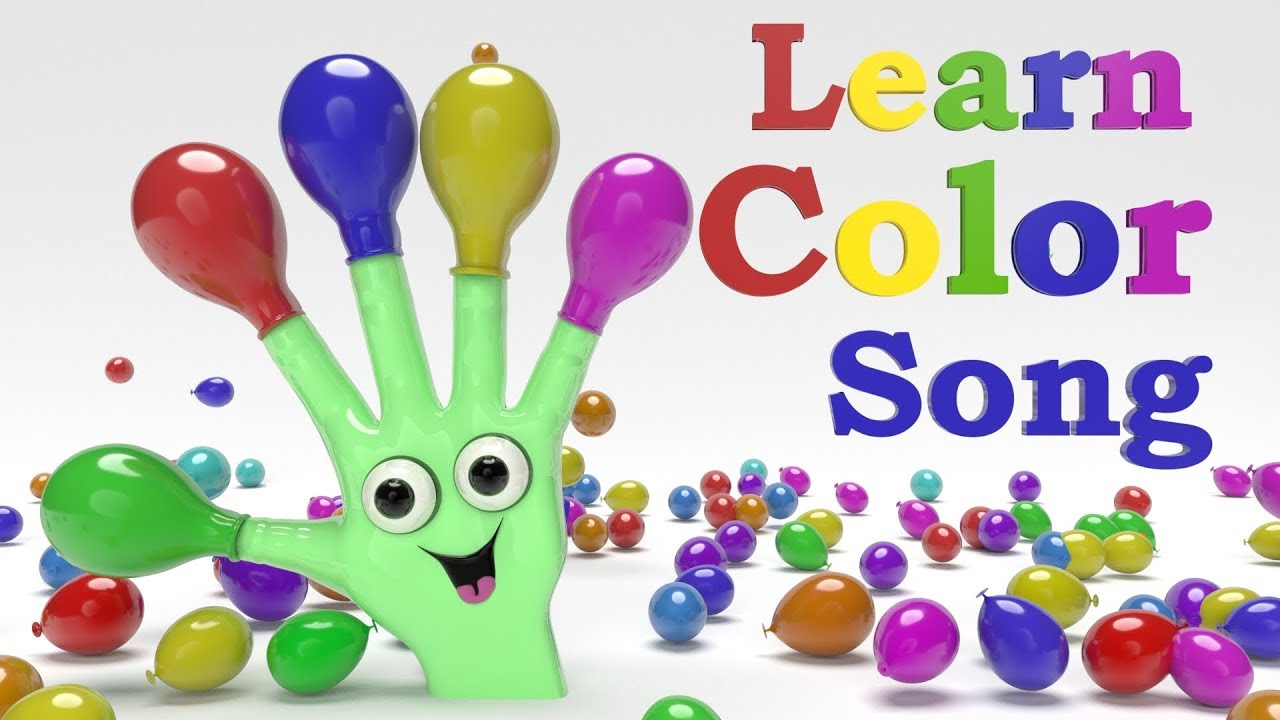 color song ,finger and balloon color song, teach color, preschool ...