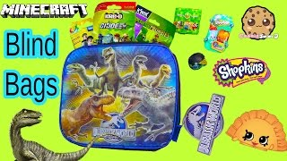 Surprise Toys Jurassic World Blind Bags Shopkins Season 3 Plants Vs Zombies Minecraft Unboxing Video