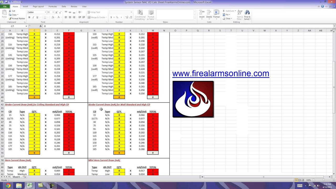 How To Do Fire Alarm Voltage Drop Calculations For System Sensor Spectralert Horn Strobes Hd