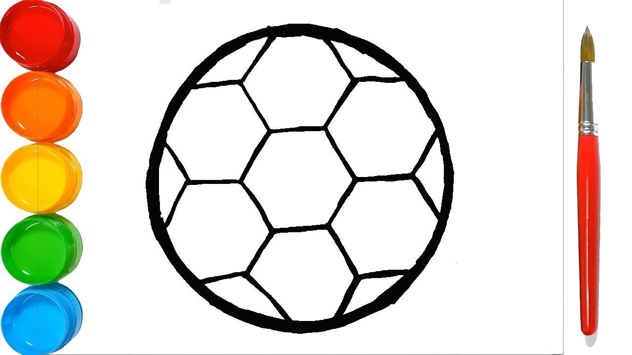 How To Draw A Football Drawing A Soccer Ball Coloring For Kids Youtube