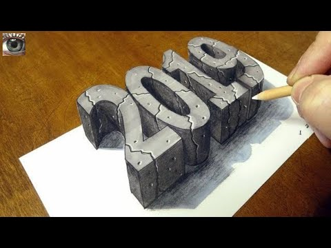 Happy New Year 2019 - Drawing 3D Stone 2019 - By Vamos