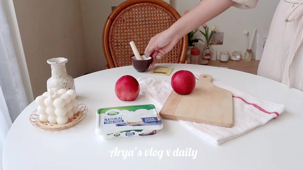 Vlog#52 一天都吃了什麼🍑 青醬貝果🥯 韭菜煎餅、伯爵茶甜桃、辛拉麵🍜 What I eat in a day!
