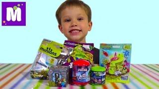 Майнкрафт Миньоны СпанчБоб Энгри Бёрдс сюрпризы с игрушками распаковка surprise unboxing