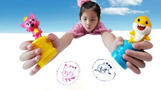 착한일을 하면 선물을 받을수 있어요!! 서은이의 핑크퐁 스템프 도장 받기 아기상어 Pinkfong Stamp Toy