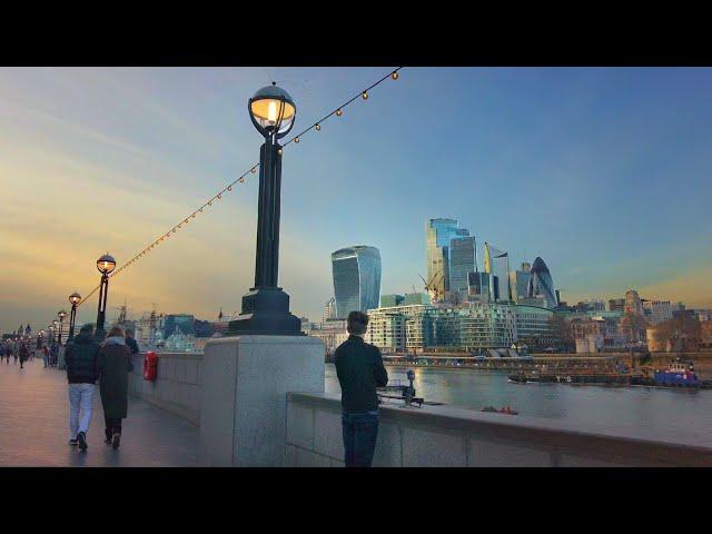 Tower Bridge to London Eye Sunset/Dusk Walk (March 2021) Bankside & South Bank