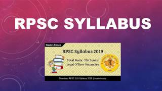 RPSC Syllabus 2019 Download For 156 Jr. Legal Officer Exam Pattern