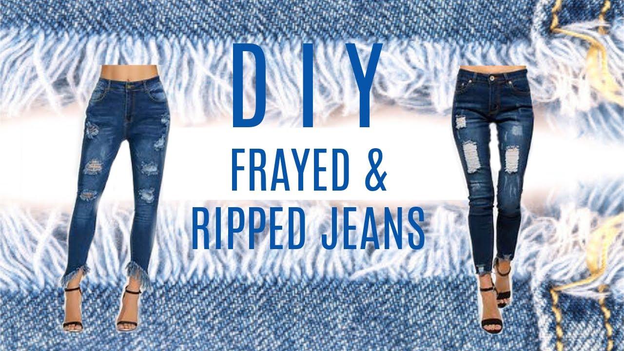 8f7aa874 DIY Frayed Hem & Ripped Jeans - YouTube