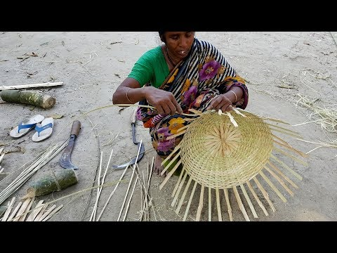 Bamboo Basket Making By Woman - She Make Daily 5-6 Basket To Support Her Mad Husband & Family