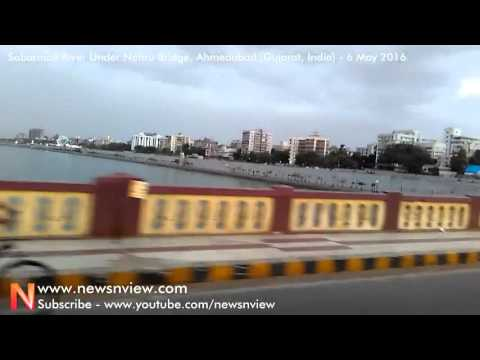 City Tour Ride Over Nehru Bridge Above Sabarmati River in Ahmedabad HD Video