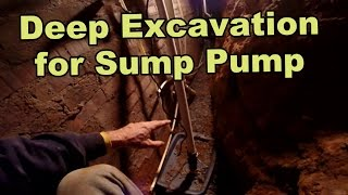 Sump Pump in Crawl Space on Basement Wall. Deep Excavation is Required