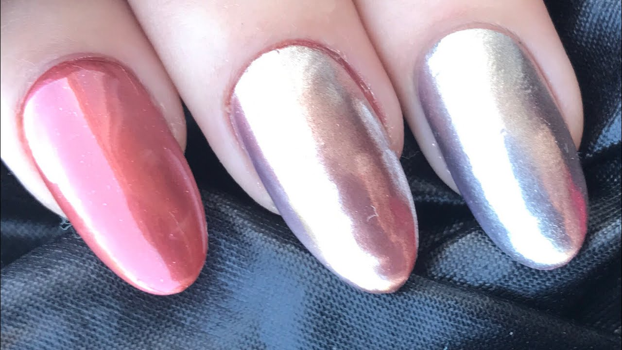 Rose Gold Chrome Nails With Shellac And Lecenté