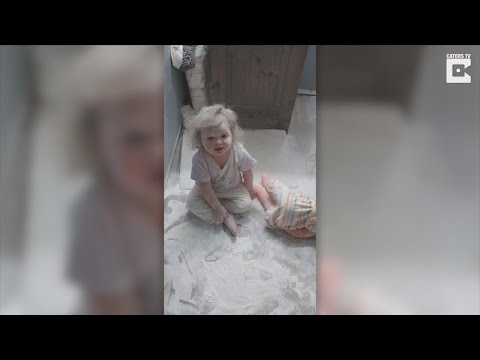 1-Year-Old Helps Mom Clean Up After She