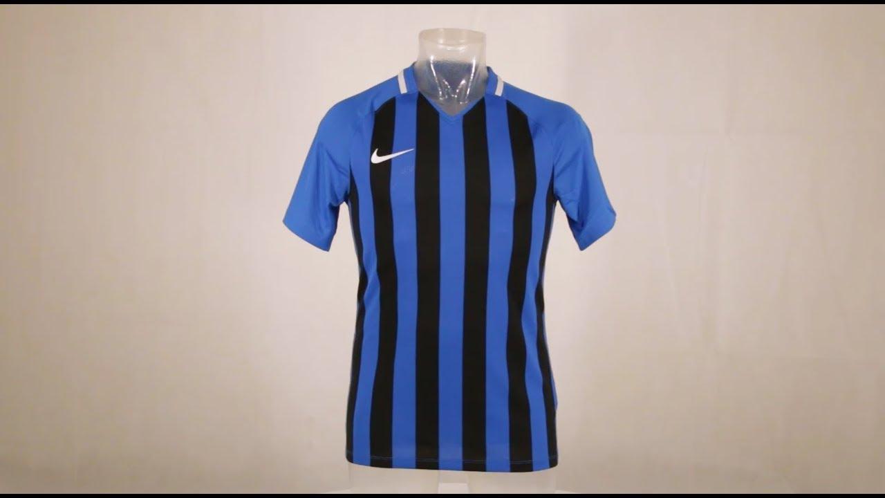 1174b92f67 Nike Striped Division III Short Sleeve Senior Football Shirt Royal  Blue/Black