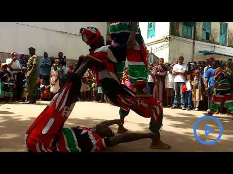 Lamu junior acrobats entertaining local residents and tourists whom visit Lamu town