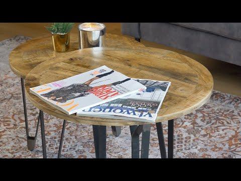 Industriële salontafel set Jake mangohout (2 stuks)