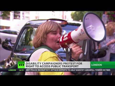 Disabled campaigners protest outside Transport Dept