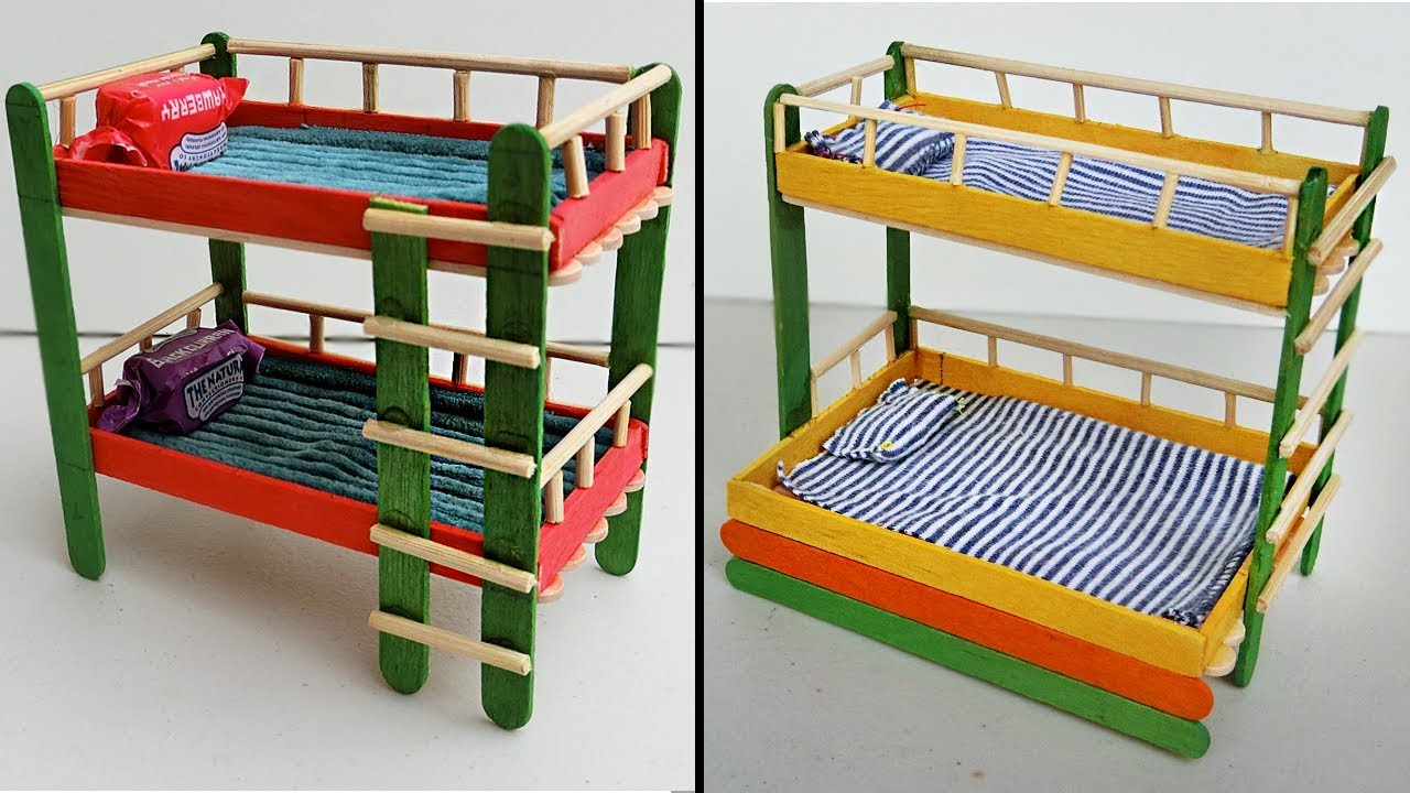 4 Popsicle Stick Bunk Beds Compilation 1 Easy Craft