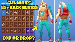 "NEW ""LIL WHIP"" SKIN Showcased With 85+ BACK BLINGS! Fortnite Battle Royale (BEST LIL WHIP COMBOS)"