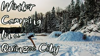 Winter Camping in a Quinzee City